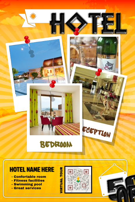 hotel promotion flyer with a virtual tour qr code postermywall. Black Bedroom Furniture Sets. Home Design Ideas