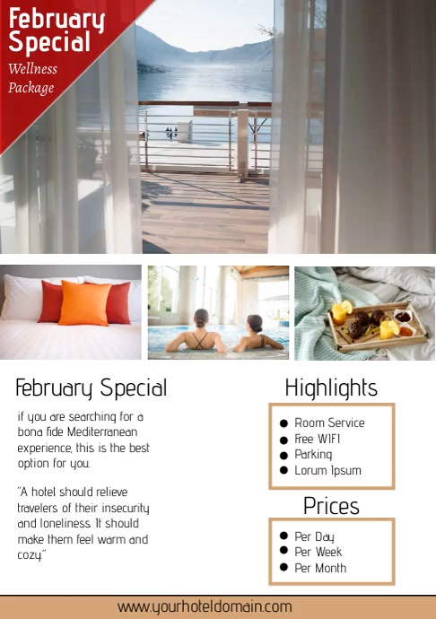 Hotel Room & Apartment Services Holiday Flyer A4 template