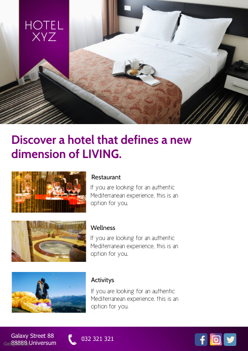 Hotel room offer Holiday Tour Trip Apartment A4 template
