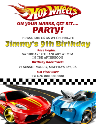 Hotwheels Birthday invitation Template
