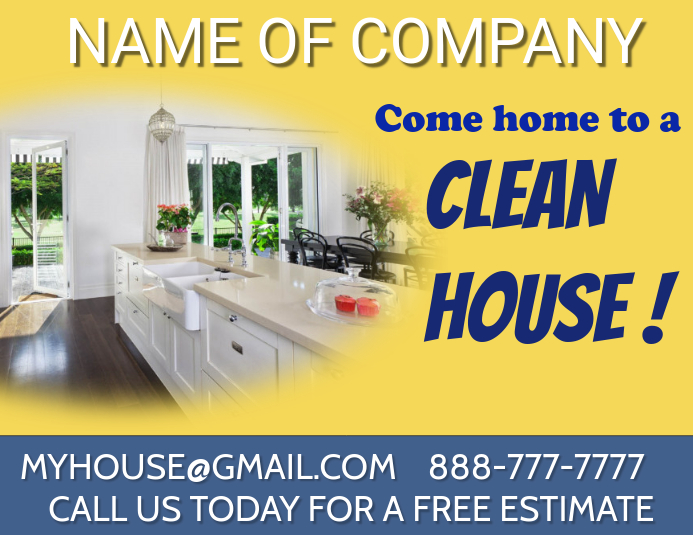 HOUSE CLEANING Løbeseddel (US Letter) template