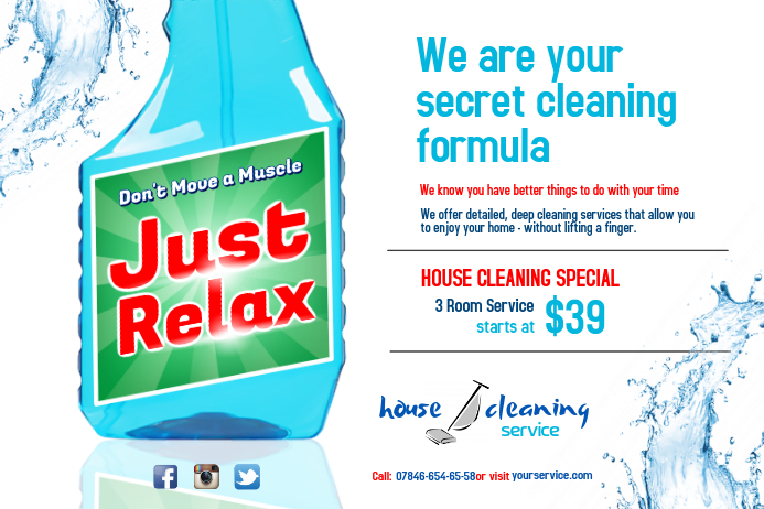 house cleaning services flyer customize template