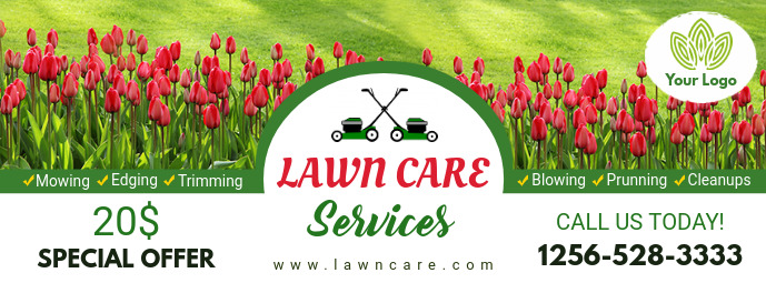 House Flower Trimming Lawn Care Banner