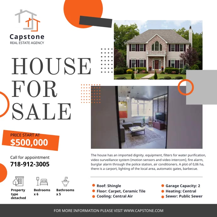 House for Sale Advertisement Real Estate Ad Square (1:1) template