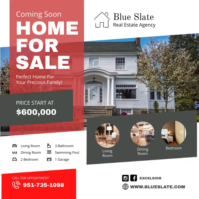 House for Sale Coming Soon Advertisement Square (1:1) template