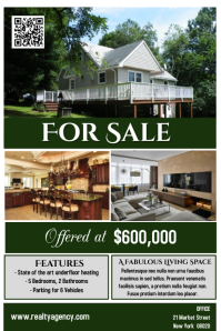 House for Sale Flyer Poster Real Estate Template