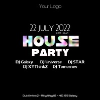 House Party Advert Electronic Club Event Color Explosion