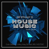 House Party Music Electronic Sound Club Bar Quadrato (1:1) template
