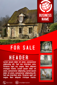 house real estate flyer template red for sale โปสเตอร์