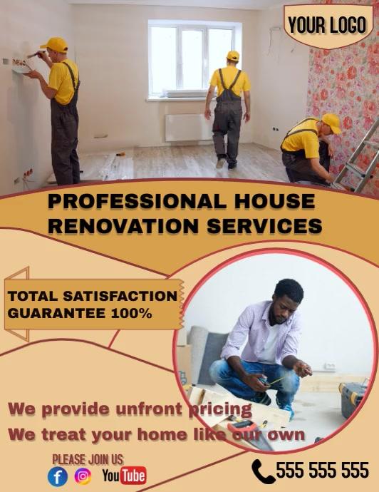 house renovation flyer Volante (Carta US) template