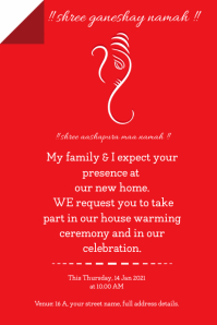 house warming ceremony template Poster
