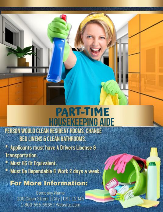 Housekeeping Aide Wanted Løbeseddel (US Letter) template