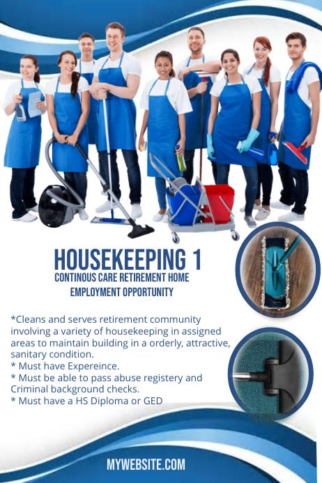 Housekeeping Associates Wanted Plakat template