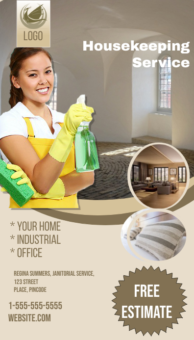 Housekeeping Business Card Visitkort template