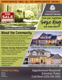 Houses For Sale! STIMULUS SAVINGS Рекламная листовка (US Letter) template