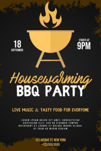 Housewarming bbq party flyer Poster template