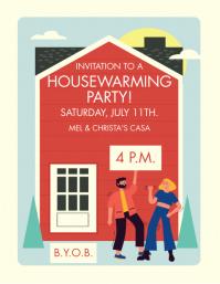 HOUSEWARMING PARTY Рекламная листовка (US Letter) template