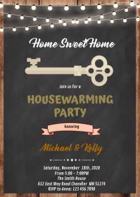 Housewarming party invitation A6 template