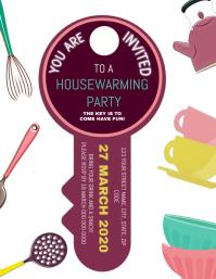 Housewarming Party Invitation Flyer Template Folder (US Letter)