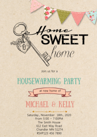 Housewarming party theme invitation