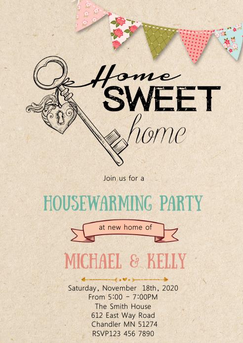 Housewarming party theme invitation