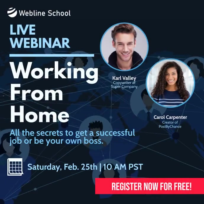 How to work from home live webinar instagram Square (1:1) template