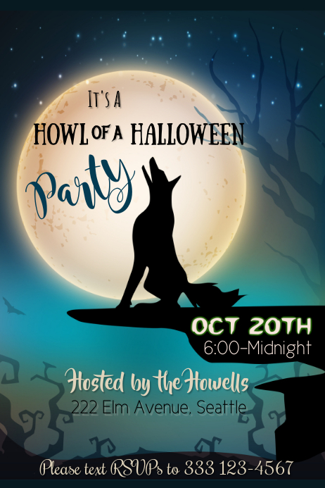 Howl of a Halloween Poster Template
