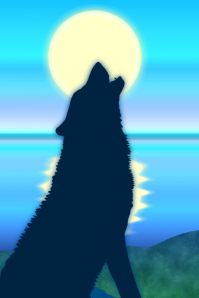 howling wolf or dog silhouette at full moon and still ocean