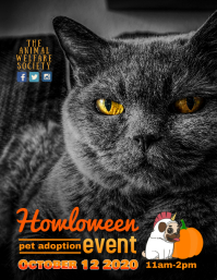Howloween pet adoption event flyer