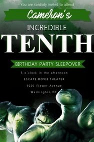 Hulk Birthday Invitation