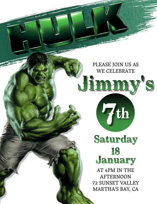 Hulk Birthday invitation Template Flyer (Letter pang-US)
