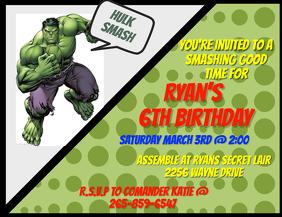 Hulk invitation Pamflet (Letter AS) template