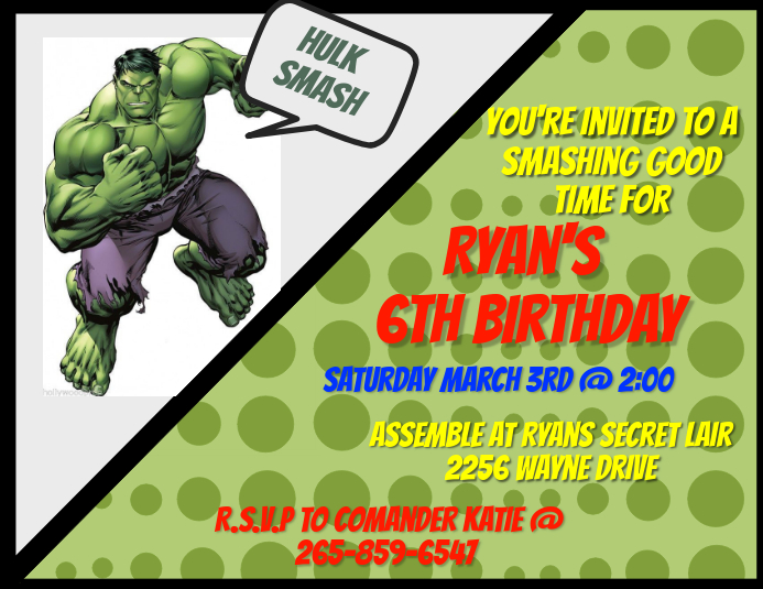 Hulk Invitation Template