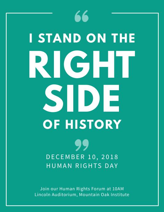 Human Rights Slogan Flyer Template Рекламная листовка (US Letter)