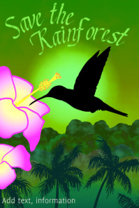 humming bird - save the rainforest - exotic tropical djungle