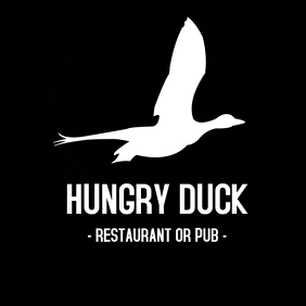 Hungry duck logo pub or restaurant