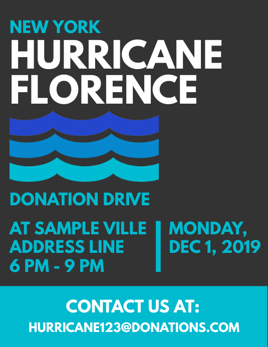 hurricane disaster donation drive flyer template postermywall