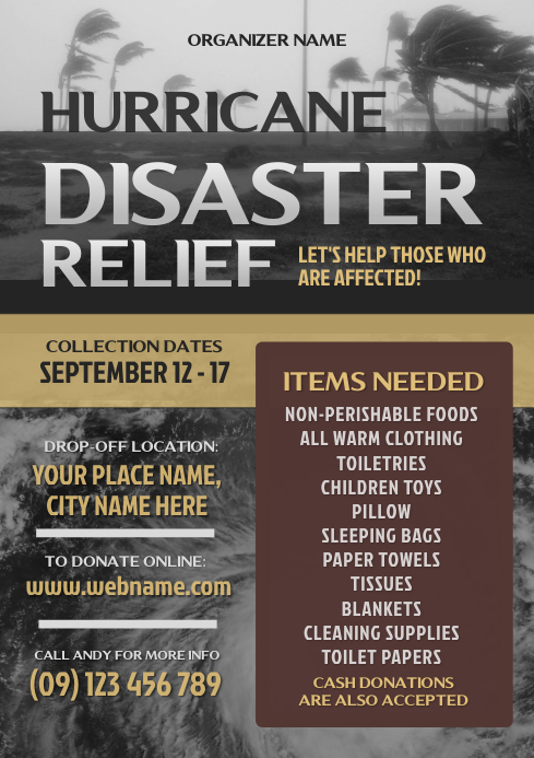 Hurricane disaster relief flyer template postermywall - New home design center checklist ...