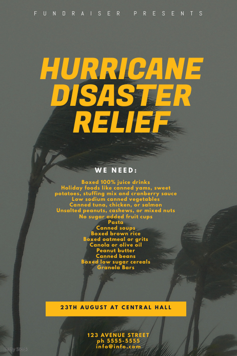 Hurricane Disaster Relief Flyer Design