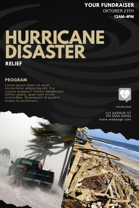 hurricane disaster relief flyer template Poster