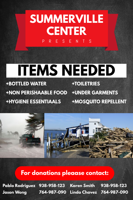 hurricane relief flyer template