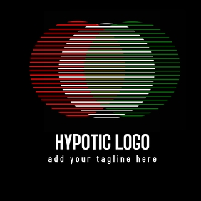 Hypnotic red white and green logo template