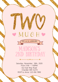 I'm two fancy birthday party invitation A6 template