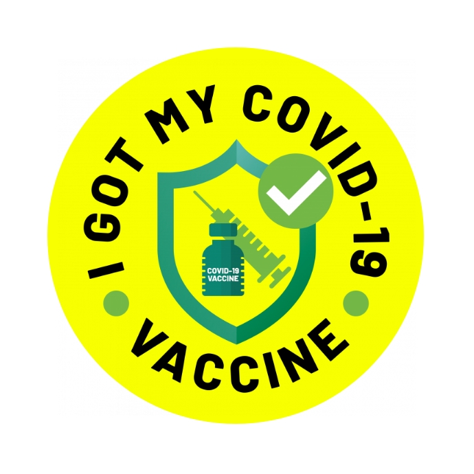 I Got My COVID-19 Vaccine Sticker Logotipo template