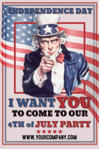 I Want You Uncle Sam 4th july Template Poster