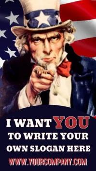 I Want You Uncle Sam Video Template งานแสดงผลงานแบบดิจิทัล (9:16)