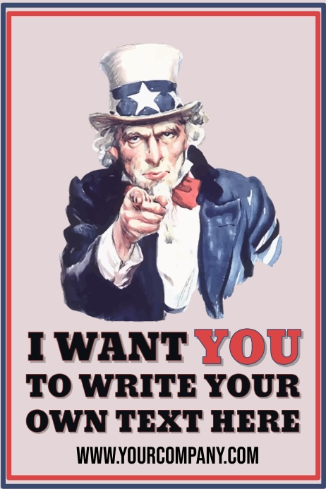 I Want You Uncle Sam Customizable Template