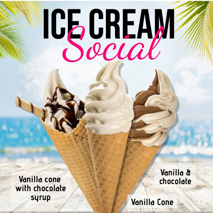 ice cream, ice cream social, Summer Instagram Post template