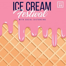 Ice cream,hello summer Quadrat (1:1) template