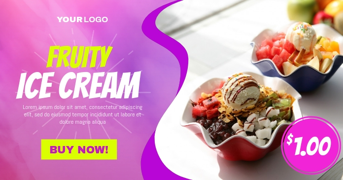 Ice Cream Ad Template Immagine condivisa di Facebook